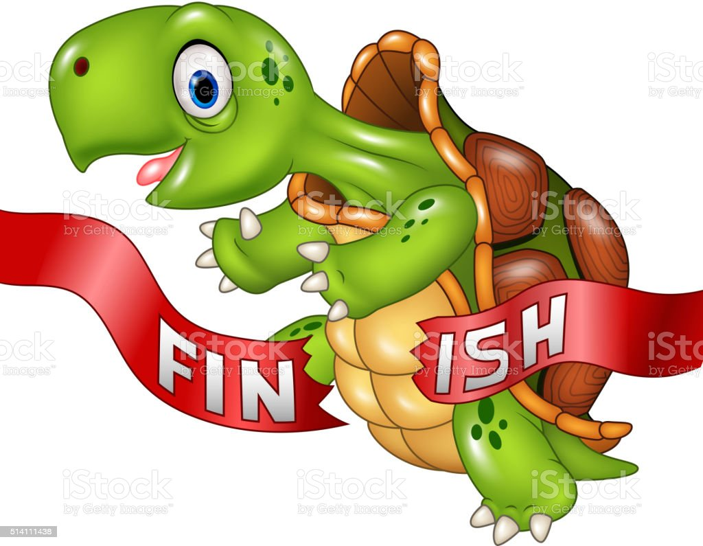 Cartoon turtle wins by crossing the finish line vector art illustration
