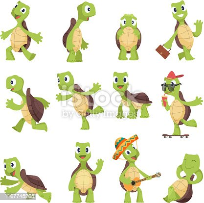 Cartoon turtles. Happy funny animals running tortoise vector collection. Illustration of turtle friendly, tortoise active and energetic