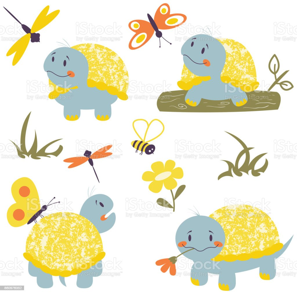 Cartoon turtles with insects set vector art illustration