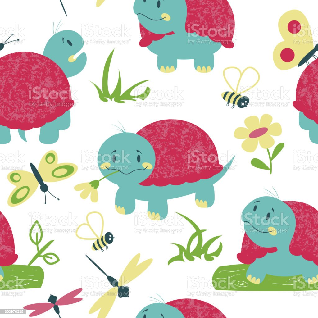 Cartoon turtles with insects vector seamless pattern vector art illustration