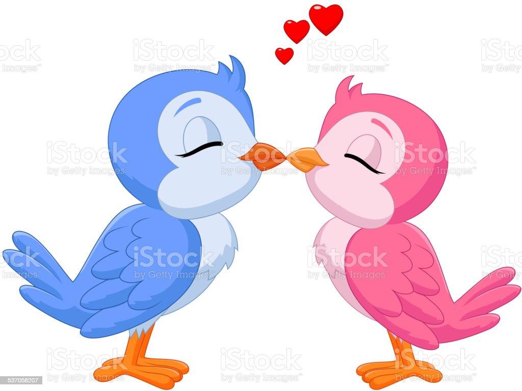 Cartoon two love birds kissing vector art illustration