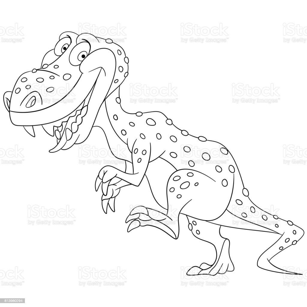 Cartoon Tyrannosaurus Coloring Page Stock Vector Art More Images
