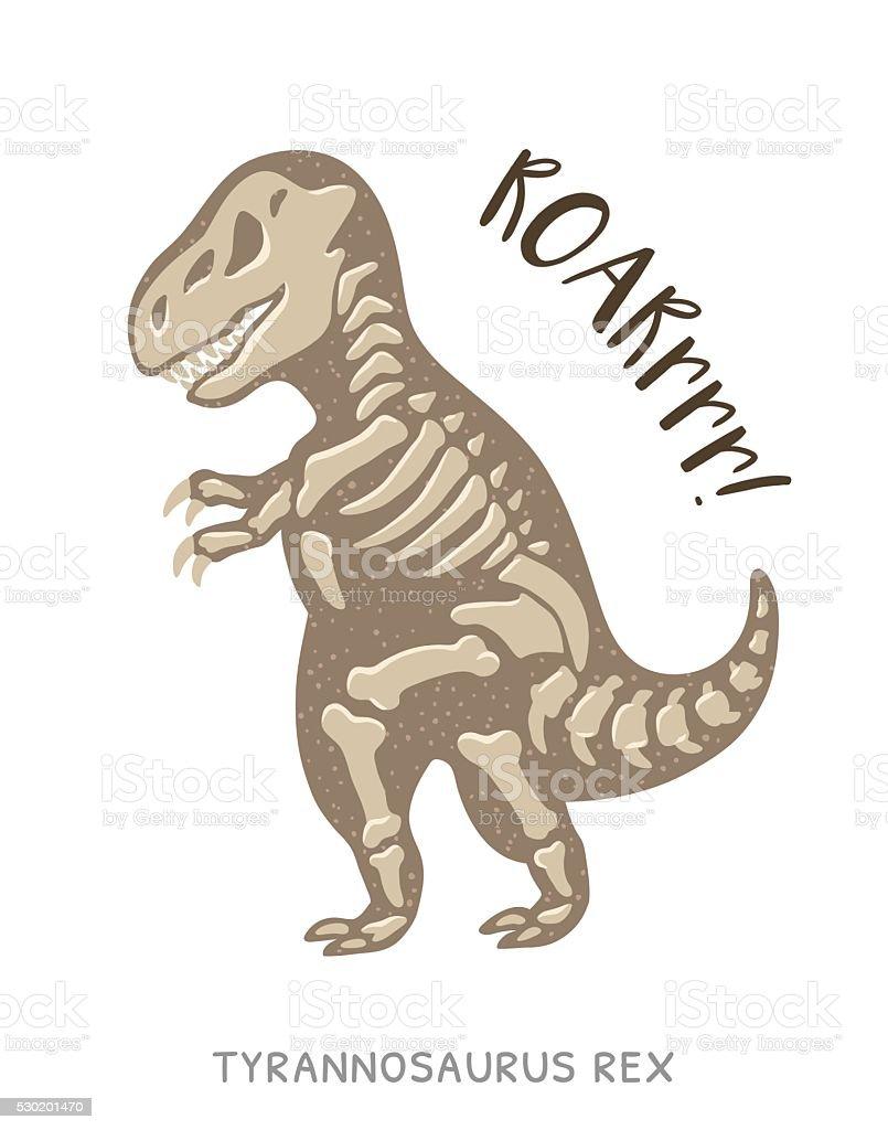 Coloriage Dinosaure Fossiles.Dessin Anime Fossiles De Dinosaure Tyrannosaurus Rex Illustration