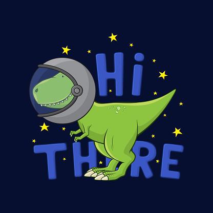 Cartoon Tyrannosaurus Rex in spacesuit