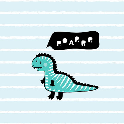 "Cartoon Tyrannosaurus rex. T-shirt print design for kids fashion with Cute Dinosaur with ""Roaaar"" Speech Bubble. Cheerful Dinosaur. Animal vector illustration. Print or Poster for Children"