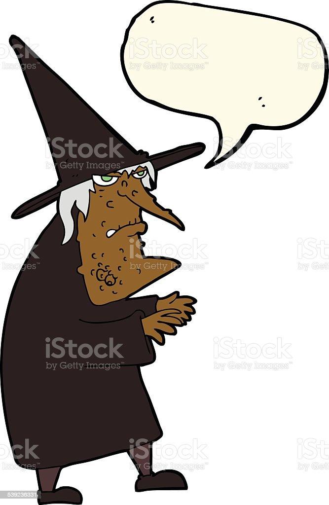 Molde de bruxa antigo dos desenhos animados com discurso de Bolha ilustração de molde de bruxa antigo dos desenhos animados com discurso de bolha e mais banco de imagens de balão - símbolo ortográfico royalty-free