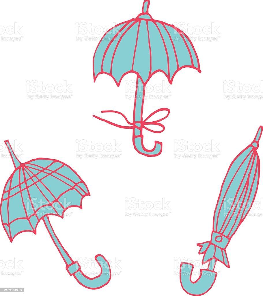 Parasols en dessin animé à autocollant icône. parasols en dessin animé à autocollant icône – cliparts vectoriels et plus d'images de angleterre libre de droits