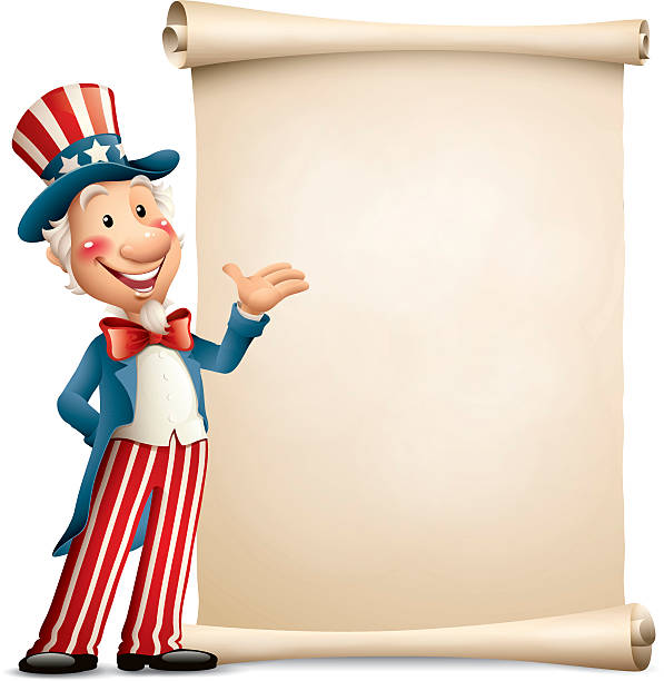 Cartoon Uncle Sam - paper scroll - 2 or more color gradient used(linear/radial) uncle sam stock illustrations