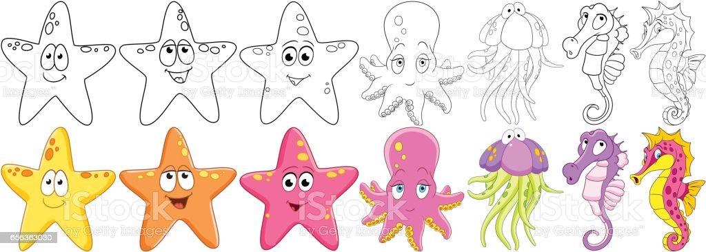 cartoon underwater animals set vector art illustration