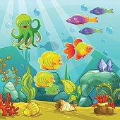 Cartoon underwater landscape