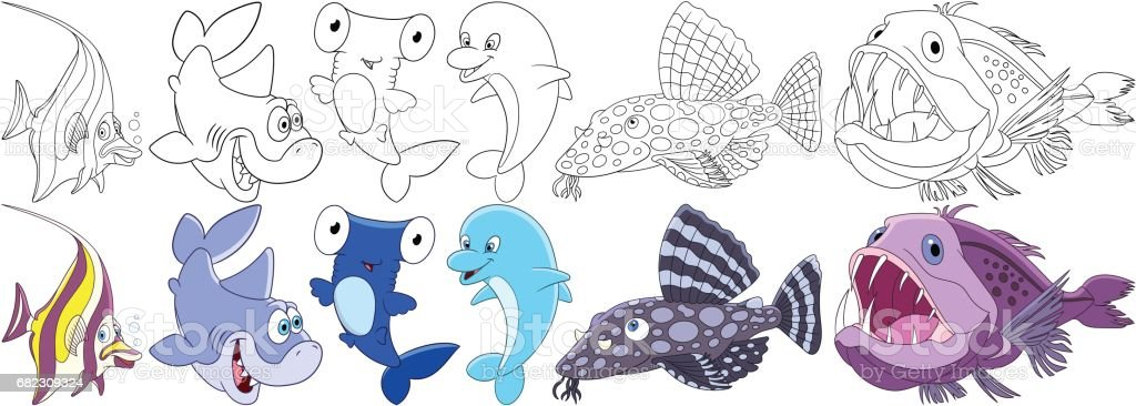 cartoon underwater set vector art illustration