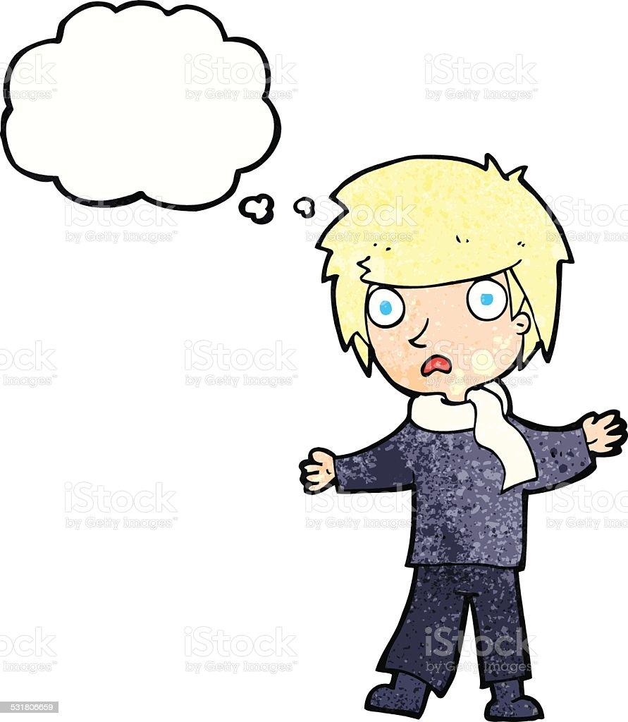 Mulher Triste Rapaz Com Balao De Pensamento Em Desenho Animado