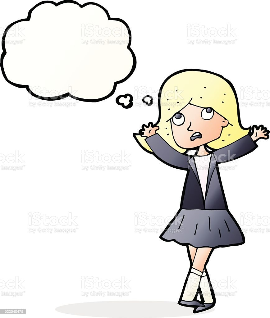 Mulher Triste Menina Com Balao De Pensamento Em Desenho Animado