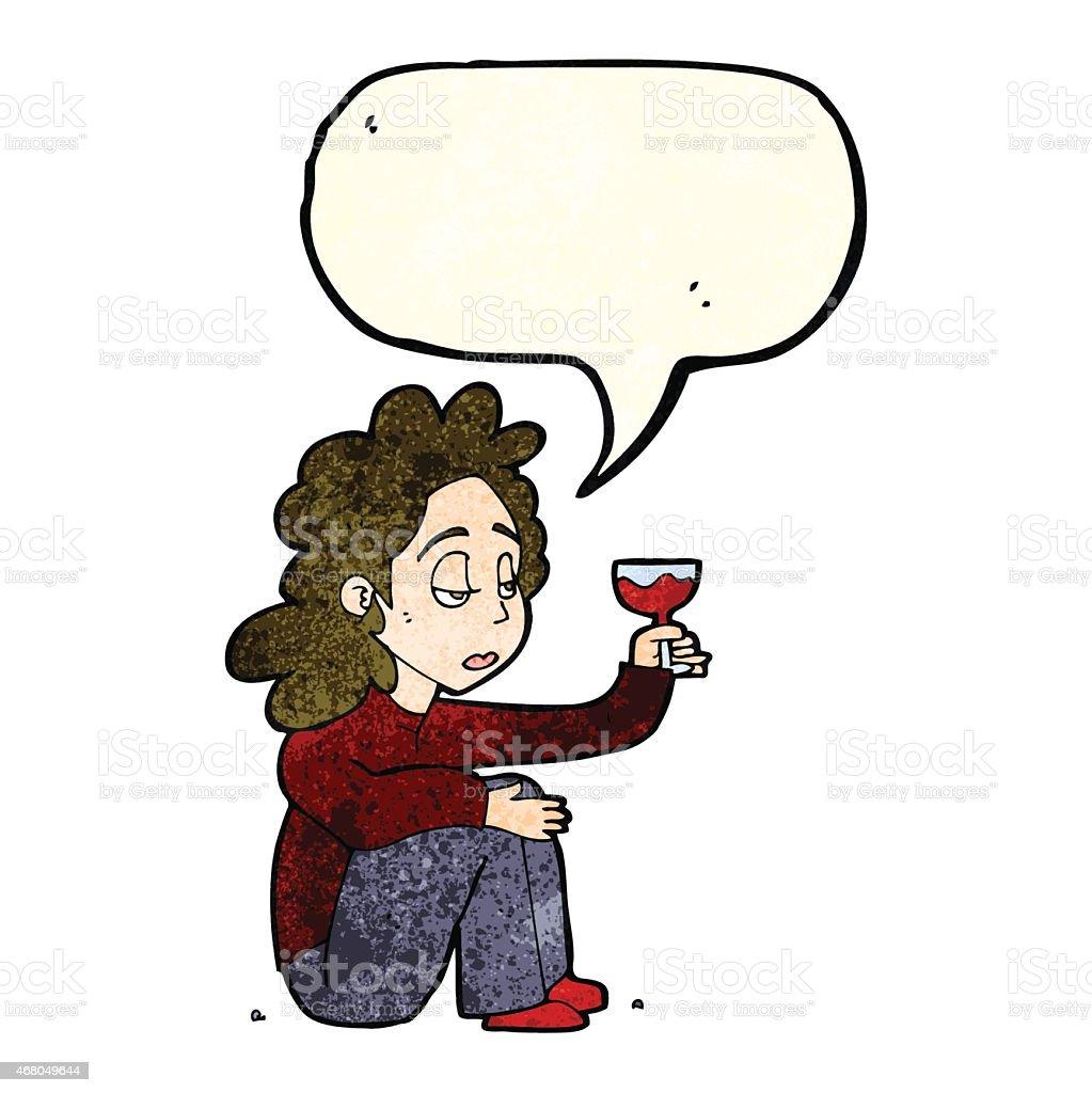 Malheureux En Dessin Animé Femme Avec Verre De Vin Avec Bulle De Dialogue Vecteurs libres de droits et plus d'images vectorielles de 2015