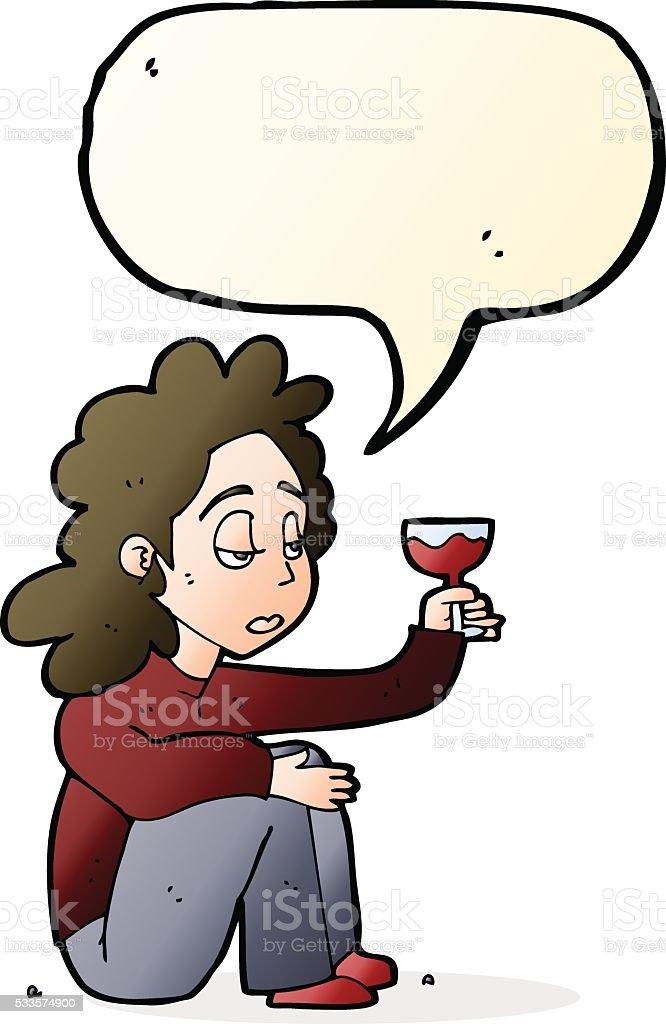 Malheureux En Dessin Animé Femme Avec Verre De Vin Avec Bulle De Dialogue Vecteurs libres de droits et plus d'images vectorielles de Adulte