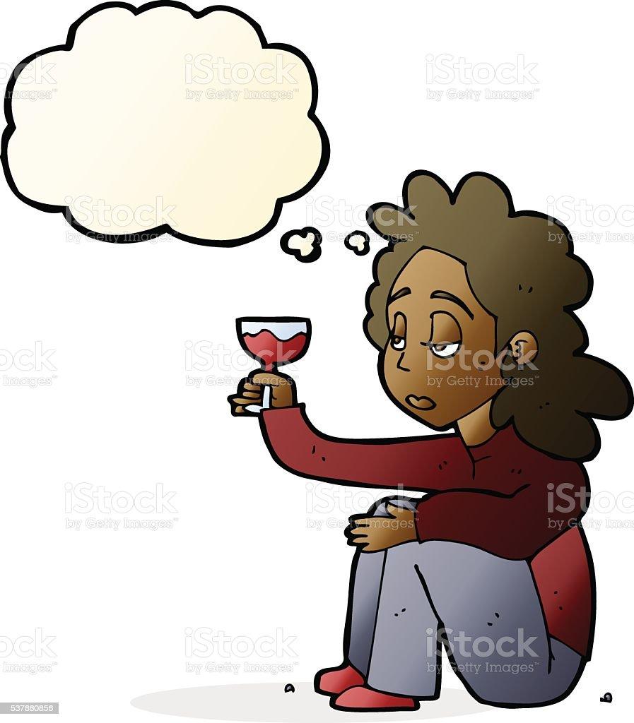 Malheureux En Dessin Animé Femme Avec Verre De Vin Avec