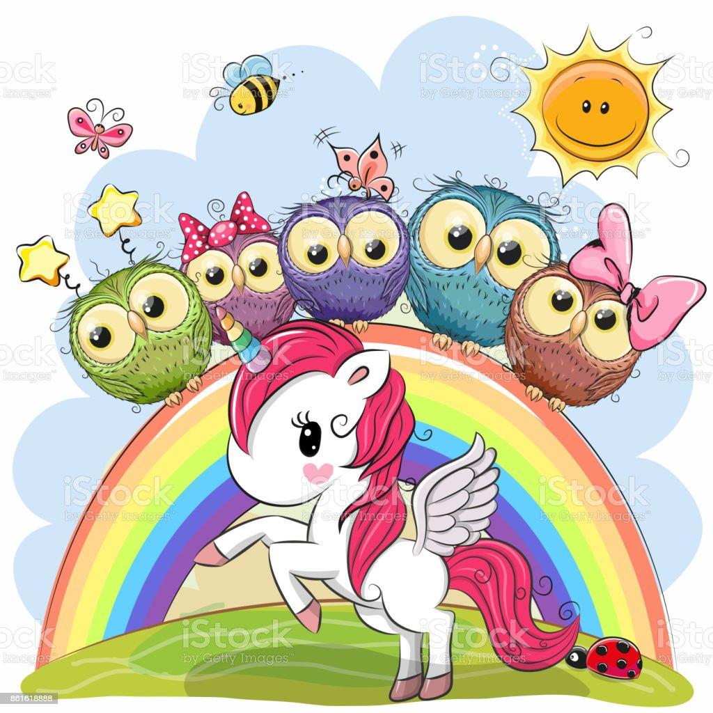 Ilustración De Dibujos Animados De Unicornio Y Cinco Lindos Buhos Y