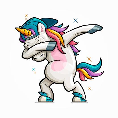 Cartoon Unicorn Dabbing