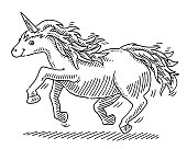 Cartoon Unicorn Fairy Tale Animal Drawing