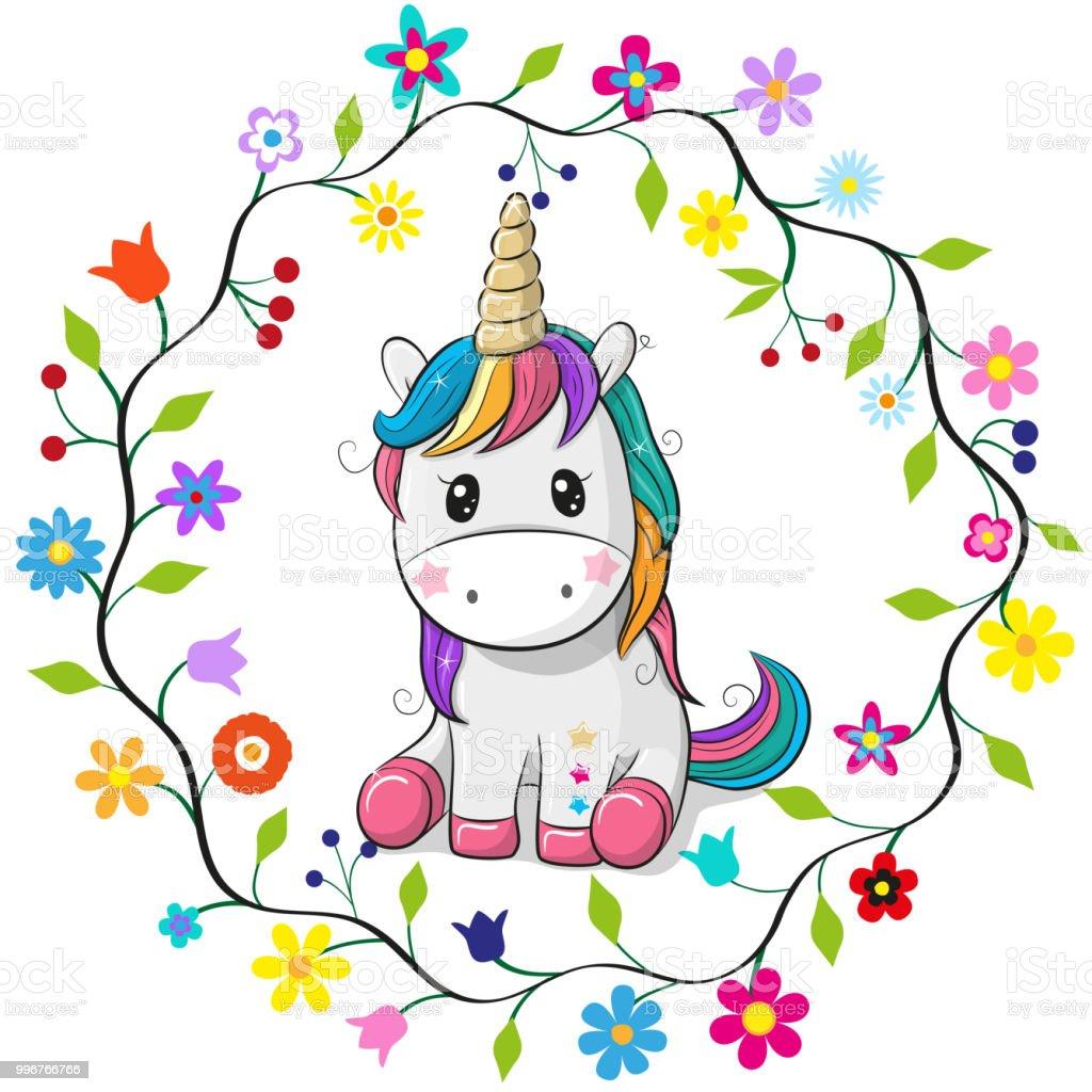 Ilustración de Dibujos Animados Unicornio En Un Marco De Flores y ...