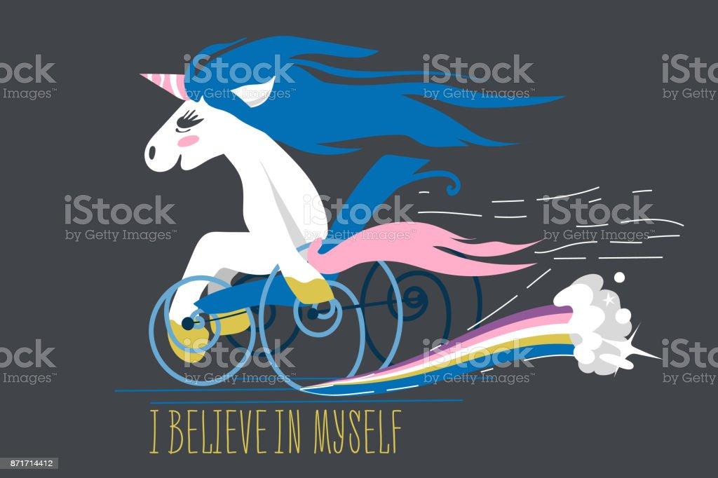 Cartoon unicorn on a wheelchair vector art illustration