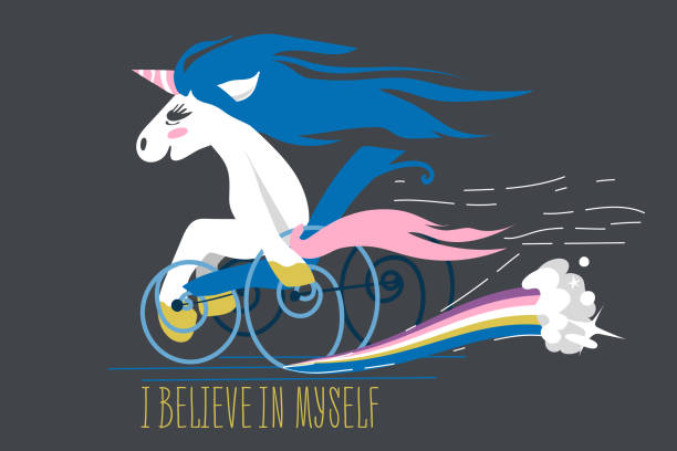 cartoon unicorn on a wheelchair - wheelchair sports stock illustrations, clip art, cartoons, & icons