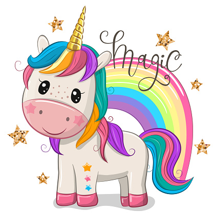 Cartoon Unicorn with a rainbow isolated on a white background