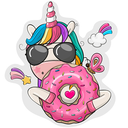 Cartoon Unicorn with donut on a white background