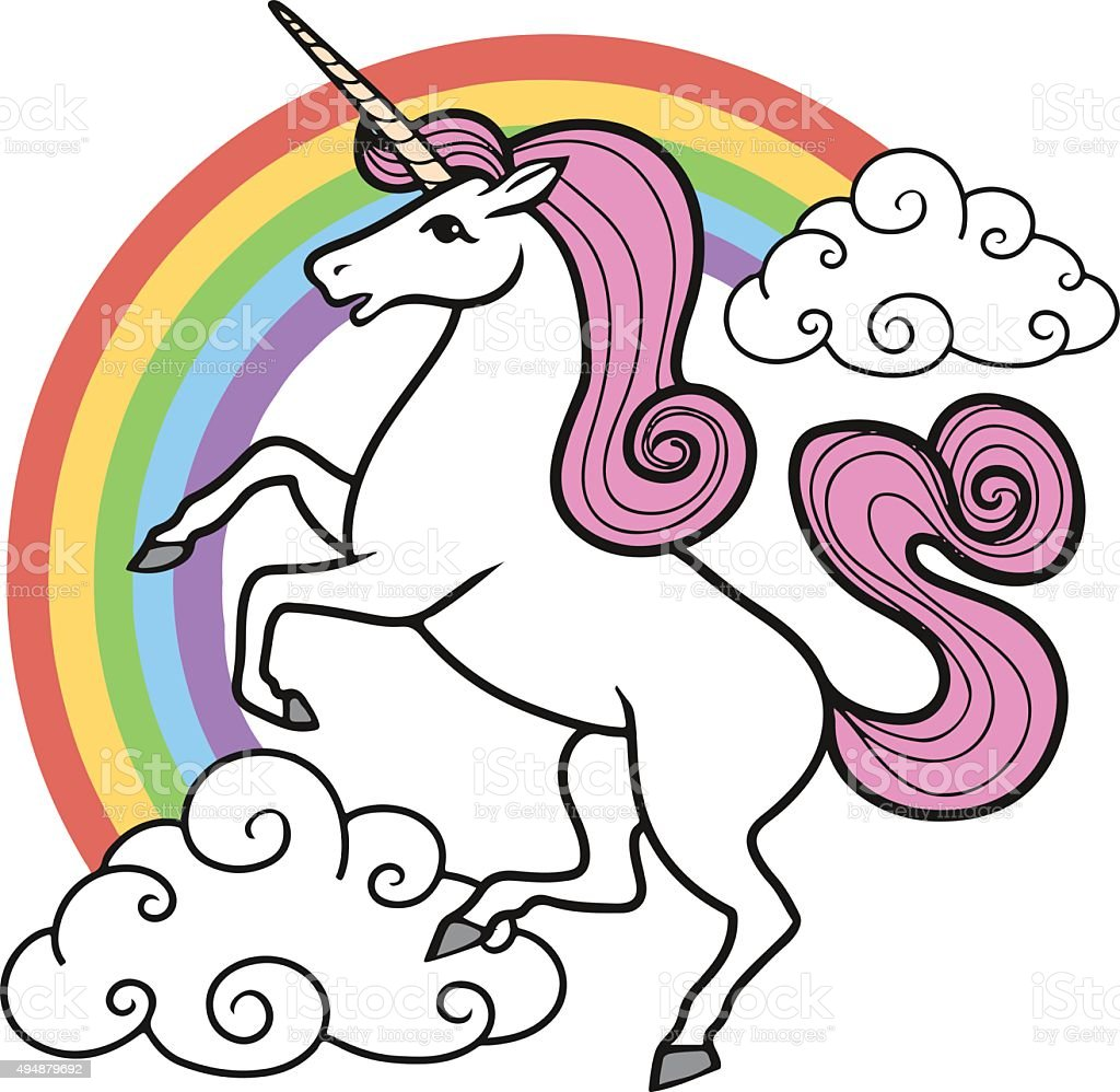 cartoon unicorn with rainbow and clouds stock vector art 494879692