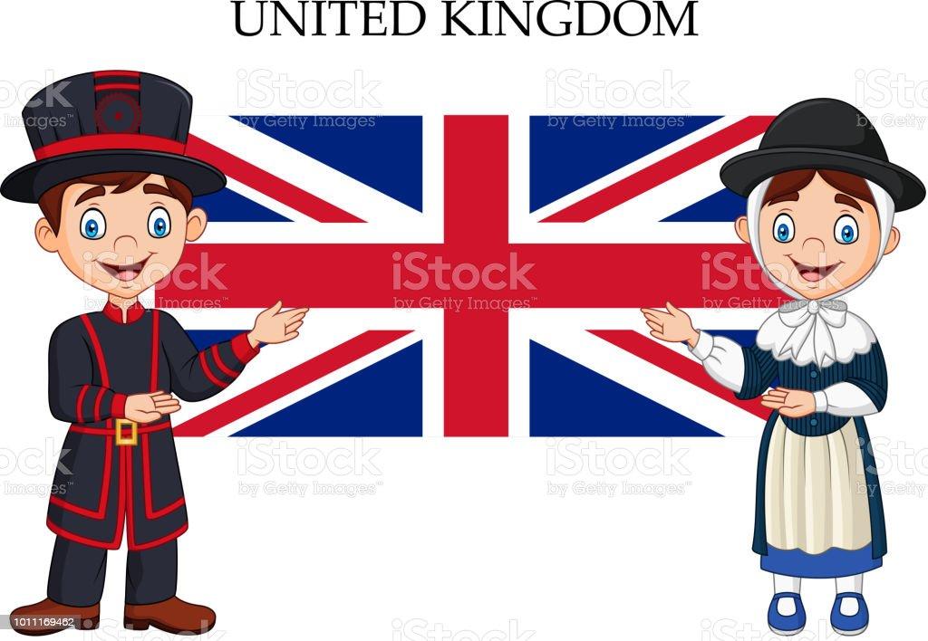 Cartoon United Kingdom couple wearing traditional costume vector art illustration