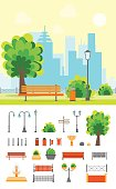Cartoon Urban Park with Bench on a Landscape Background and Element Set Flat Design Style. Vector illustration