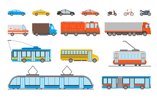 Cartoon Urban Transport Icons Set. Vector