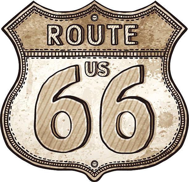 stockillustraties, clipart, cartoons en iconen met cartoon u.s. route shield- route 66 road sign - arizona highway signs