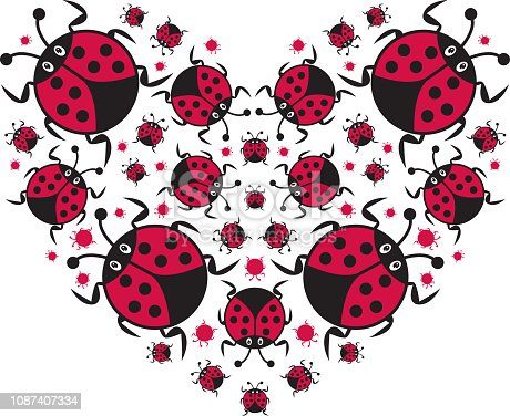 Cute Cartoon Ladybug in a Valentine Heart Pattern by Mark Murphy Creative