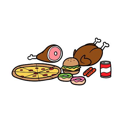 Cartoon Various Food Vector Illustration