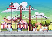 Cartoon vector amusement park with separated layers