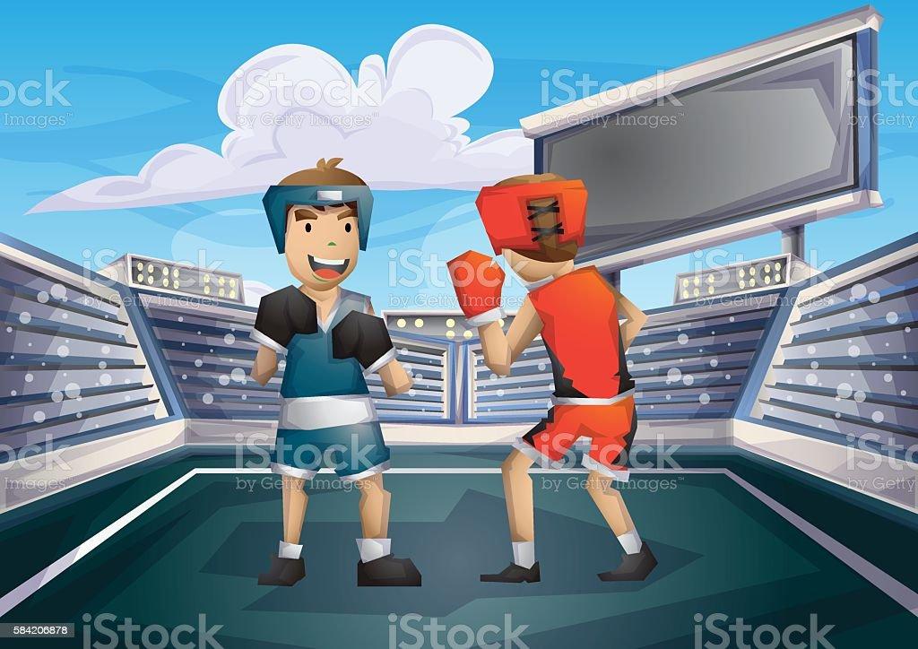 Cartoon vector boxing - ilustração de arte em vetor