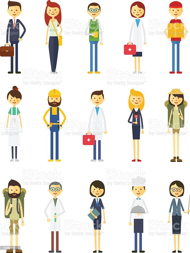 Cartoon Vector Characters Of Different Professions Stock Illustration -  Download Image Now