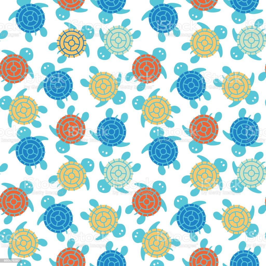 Cartoon vector colorful turtles seamless pattern vector art illustration