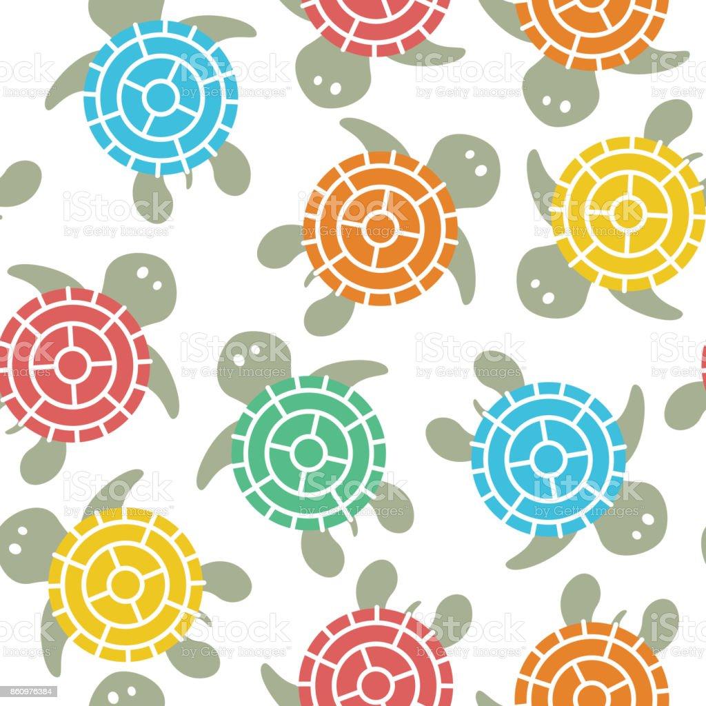 Cartoon vector colorful turtles seamless pattern. vector art illustration