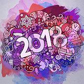 Cartoon vector cute doodles hand drawn 2018 year illustration