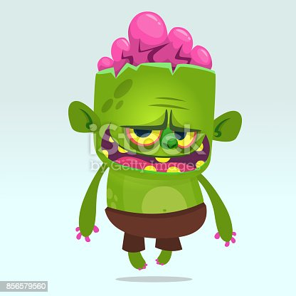 Cartoon vector cute  zombie. Halloween vector illustration of happy monster. Design for print, sticker, emblem, mascot , greetings invitation or party