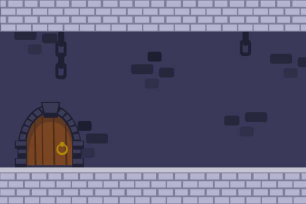 stockillustraties, clipart, cartoons en iconen met cartoon vector donkere kasteel achtergrond met deur, opknoping kettingen en bakstenen muren - versterkte muur