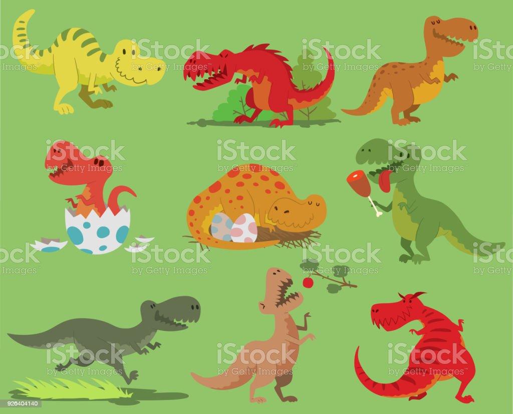 Ilustración De Dibujos Animados Vector Dinosaurio Tyrannosaurus Rex