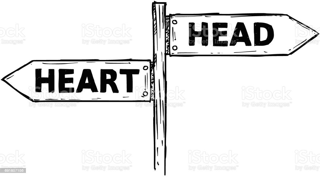 Cartoon Vector Direction Sign With Two Decision Arrows Heart And