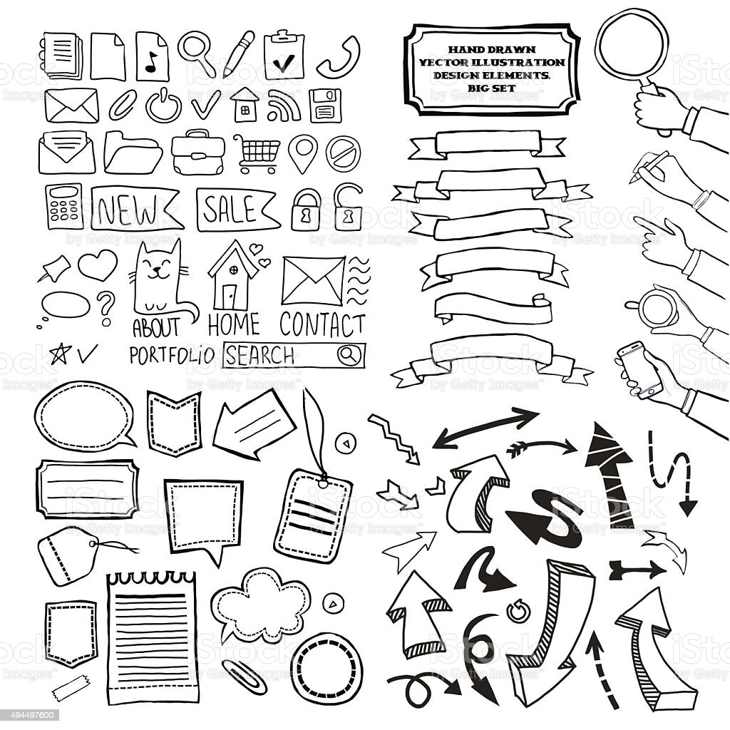 Cartoon vector doodle design elements set. vector art illustration