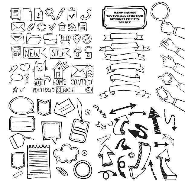 Cartoon Vektor doodle design-Elemente festgelegt. – Vektorgrafik
