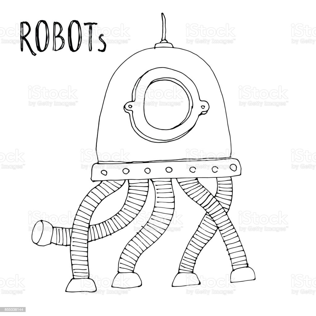 - Cartoon Vector Doodle Robot For Kids Coloring Book Stock