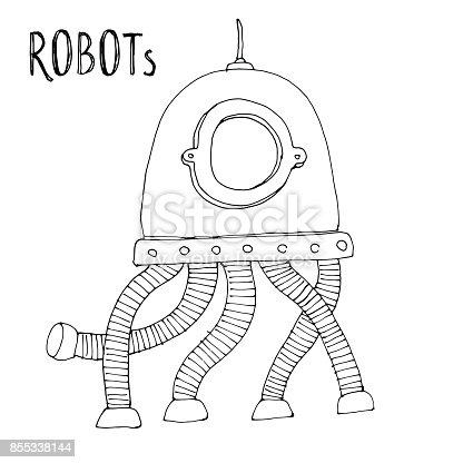 Ilustración de Vector De Dibujos Animados Doodle Robot Para Niños ...
