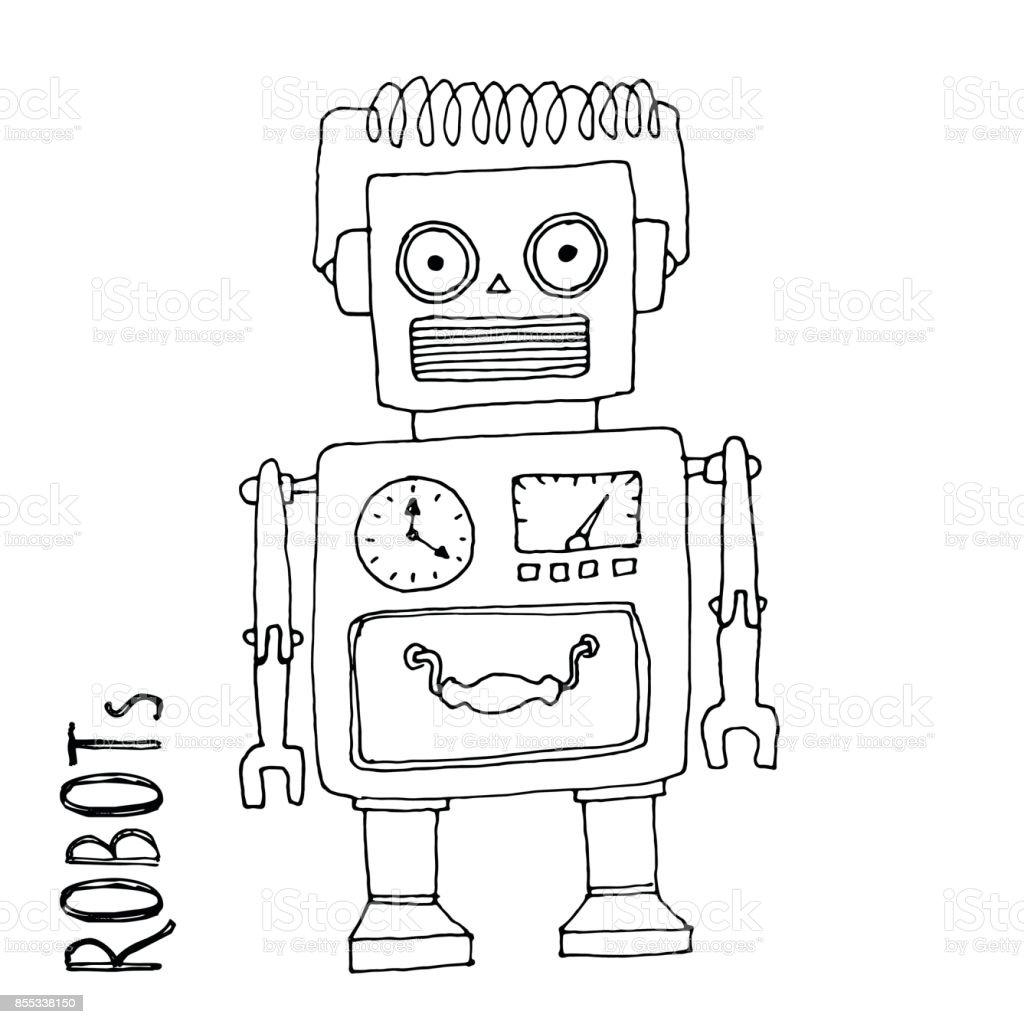 Ilustración De Vector De Dibujos Animados Doodle Robot Para Niños